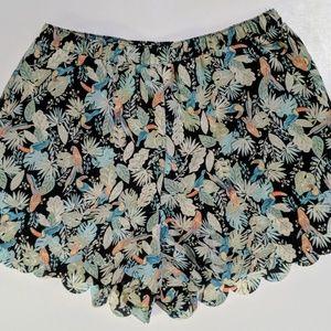 Lauren Conrad Tropical Print Shorts W Scallop Edge